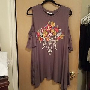 Grey, Cold shoulder top, embroidery with flowers